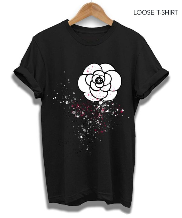 chanel flowers black tee