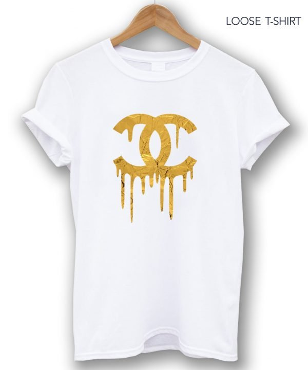 gold chanel white tee
